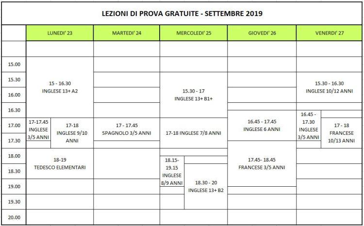 lezioni di prova settembre 2019